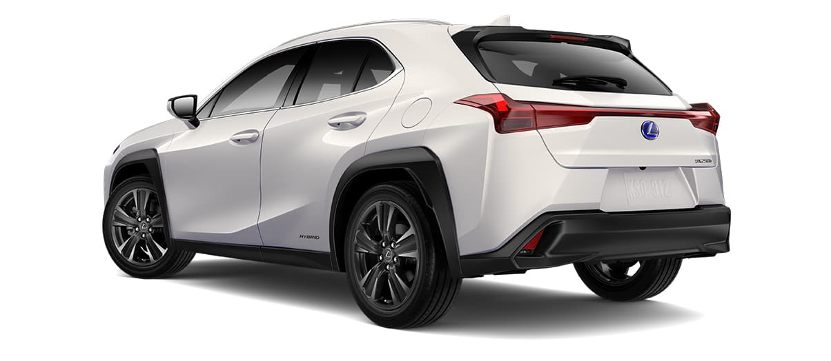 2019 ux 250h in Eminent White Pearl with '18-in five-spoke alloy wheels with Dark Gray and machined finish with run-flat tires<span class='tooltip-trigger disclaimer' data-disclaimers='[{\'code\':\'TIREWEAR2\',\'isTerms\':false,\'body\':\'18-in performance tires are expected to experience greater tire wear than conventional tires. Tire life may be substantially less than mileage expectancy or 15,000 miles, depending upon driving conditions.\'},{\'code\':\'RUNFLAT8\',\'isTerms\':false,\'body\':\'UX 200, UX 250h and F SPORT models come standard with run-flat tires—there is no spare tire.\'}]'><span class='asterisk'>*</span></span>' angle3