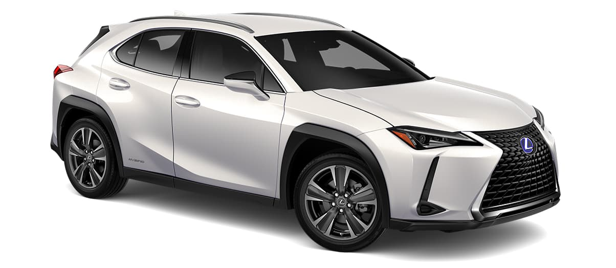 2019 ux 250h in Eminent White Pearl with '18-in five-spoke alloy wheels with Dark Gray and machined finish with run-flat tires<span class='tooltip-trigger disclaimer' data-disclaimers='[{\'code\':\'TIREWEAR2\',\'isTerms\':false,\'body\':\'18-in performance tires are expected to experience greater tire wear than conventional tires. Tire life may be substantially less than mileage expectancy or 15,000 miles, depending upon driving conditions.\'},{\'code\':\'RUNFLAT8\',\'isTerms\':false,\'body\':\'UX 200, UX 250h and F SPORT models come standard with run-flat tires—there is no spare tire.\'}]'><span class='asterisk'>*</span></span>' angle4