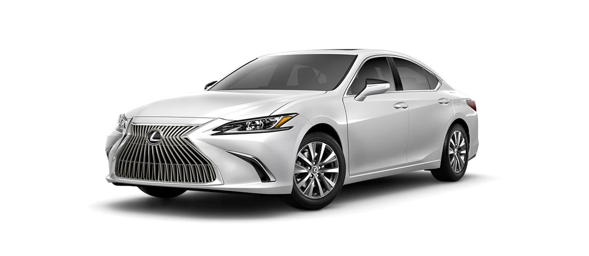 2020 es 350 in Eminent White Pearl with '17-in split-10-spoke alloy wheels<span class='tooltip-trigger disclaimer' data-disclaimers='[{\'code\':\'TIREWEAR1\',\'isTerms\':false,\'body\':\'17-in performance tires are expected to experience greater tire wear than conventional tires. Tire life may be substantially less than mileage expectancy or 15,000 miles, depending upon driving conditions.\'}]'><span class='asterisk'>*</span></span> with Dark Silver and machined finish' angle1