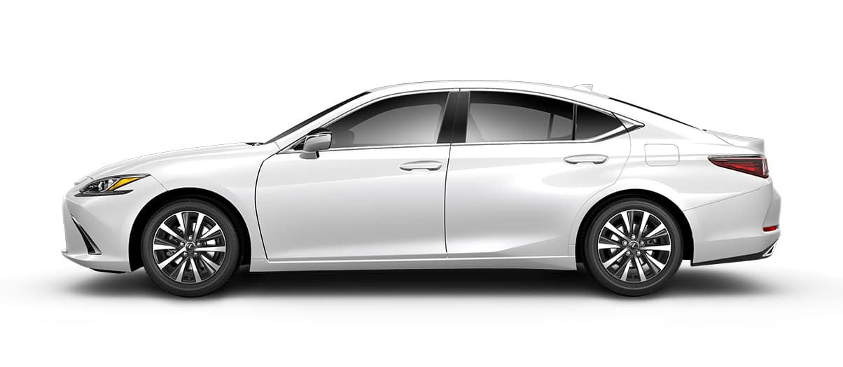 2020 es 350 in Eminent White Pearl with '17-in split-10-spoke alloy wheels<span class='tooltip-trigger disclaimer' data-disclaimers='[{\'code\':\'TIREWEAR1\',\'isTerms\':false,\'body\':\'17-in performance tires are expected to experience greater tire wear than conventional tires. Tire life may be substantially less than mileage expectancy or 15,000 miles, depending upon driving conditions.\'}]'><span class='asterisk'>*</span></span> with Dark Silver and machined finish' angle2