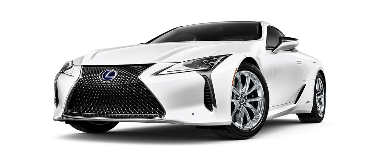 2020 lc 500h in Ultra White with '20-inch 10-spoke forged alloy wheels<span class='tooltip-trigger disclaimer' data-disclaimers='[{\'code\':\'TIREWEAR4\',\'isTerms\':false,\'body\':\'20-in performance tires are expected to experience greater tire wear than conventional tires. Tire life may be substantially less than mileage expectancy or 15,000 miles, depending upon driving conditions.\'}]'><span class='asterisk'>*</span></span> with polished finish' angle1