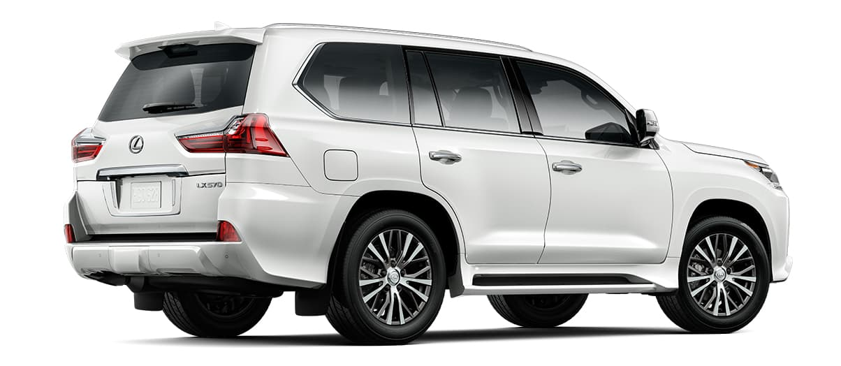 2020 lx 570 THREE-ROW in Eminent White Pearl with '20-in five-spoke alloy wheels<span class='tooltip-trigger disclaimer' data-disclaimers='[{\'code\':\'TIREWEAR4\',\'isTerms\':false,\'body\':\'20-in performance tires are expected to experience greater tire wear than conventional tires. Tire life may be substantially less than mileage expectancy or 15,000 miles, depending upon driving conditions.\'}]'><span class='asterisk'>*</span></span> (Standard)' angle3