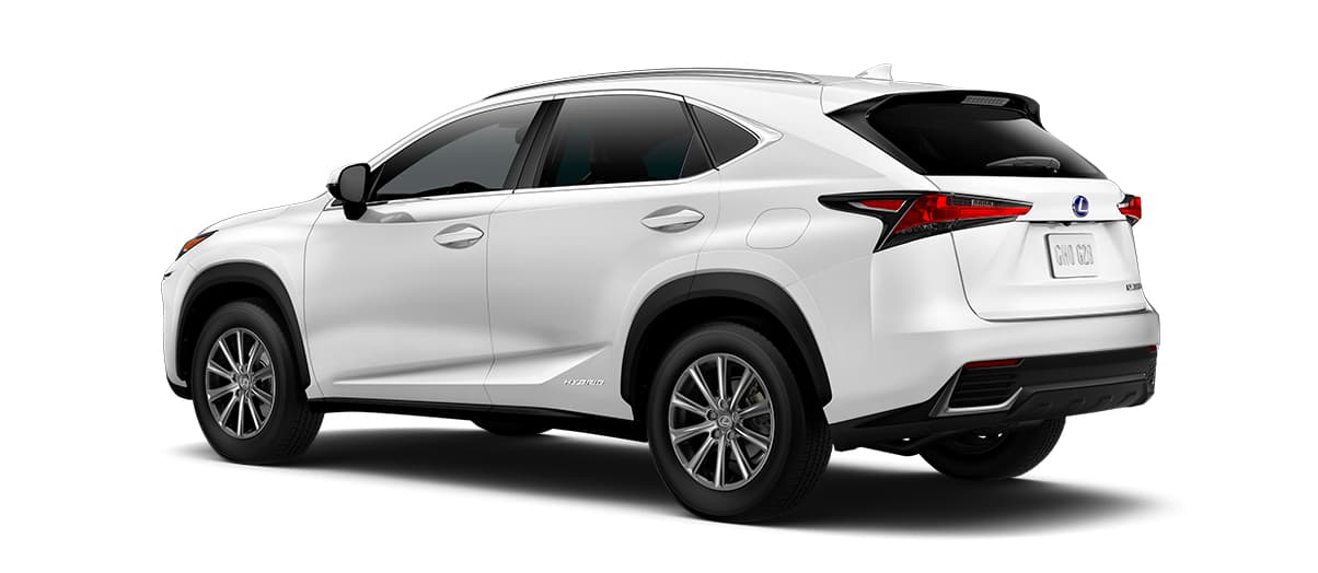 2020 nx 300h in Eminent White Pearl with '17-in 10-spoke alloy wheels<span class='tooltip-trigger disclaimer' data-disclaimers='[{\'code\':\'TIREWEAR1\',\'isTerms\':false,\'body\':\'17-in performance tires are expected to experience greater tire wear than conventional tires. Tire life may be substantially less than mileage expectancy or 15,000 miles, depending upon driving conditions.\'}]'><span class='asterisk'>*</span></span>' angle2