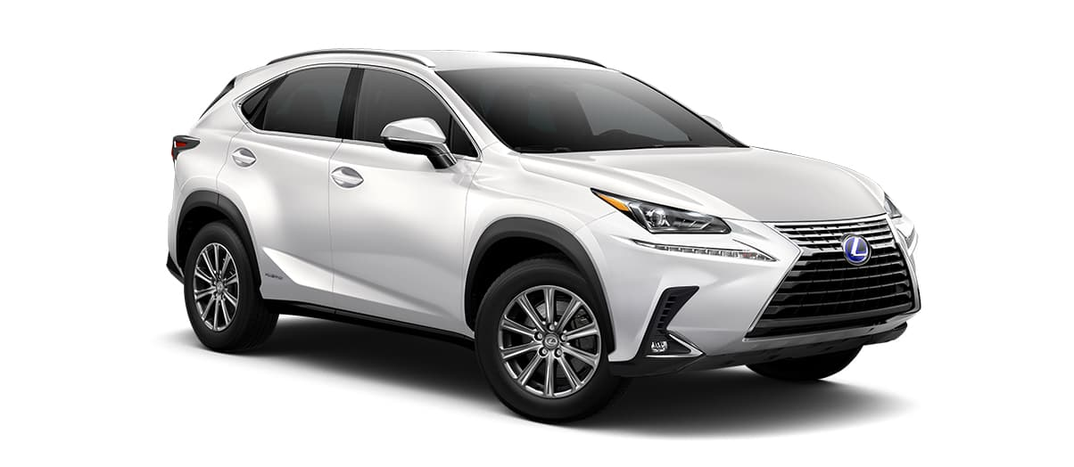 2020 nx 300h in Eminent White Pearl with '17-in 10-spoke alloy wheels<span class='tooltip-trigger disclaimer' data-disclaimers='[{\'code\':\'TIREWEAR1\',\'isTerms\':false,\'body\':\'17-in performance tires are expected to experience greater tire wear than conventional tires. Tire life may be substantially less than mileage expectancy or 15,000 miles, depending upon driving conditions.\'}]'><span class='asterisk'>*</span></span>' angle4
