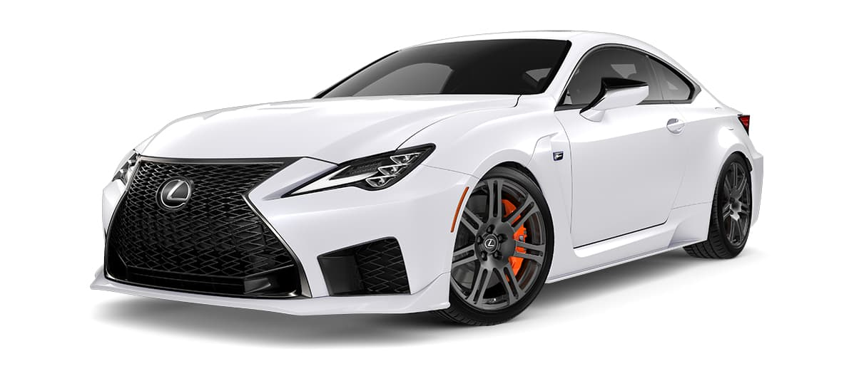 2020 rcf   in Ultra White with '19-inch split-seven-spoke forged alloy wheels by BBS with Michelin® Pilot® Sport 4 S tires<span class='tooltip-trigger disclaimer' data-disclaimers='[{\'code\':\'TIREWEAR5\',\'isTerms\':false,\'body\':\'19-in performance tires are expected to experience greater tire wear than conventional tires. Tire life may be substantially less than mileage expectancy or 15,000 miles, depending upon driving conditions.\'}]'><span class='asterisk'>*</span></span>' angle1