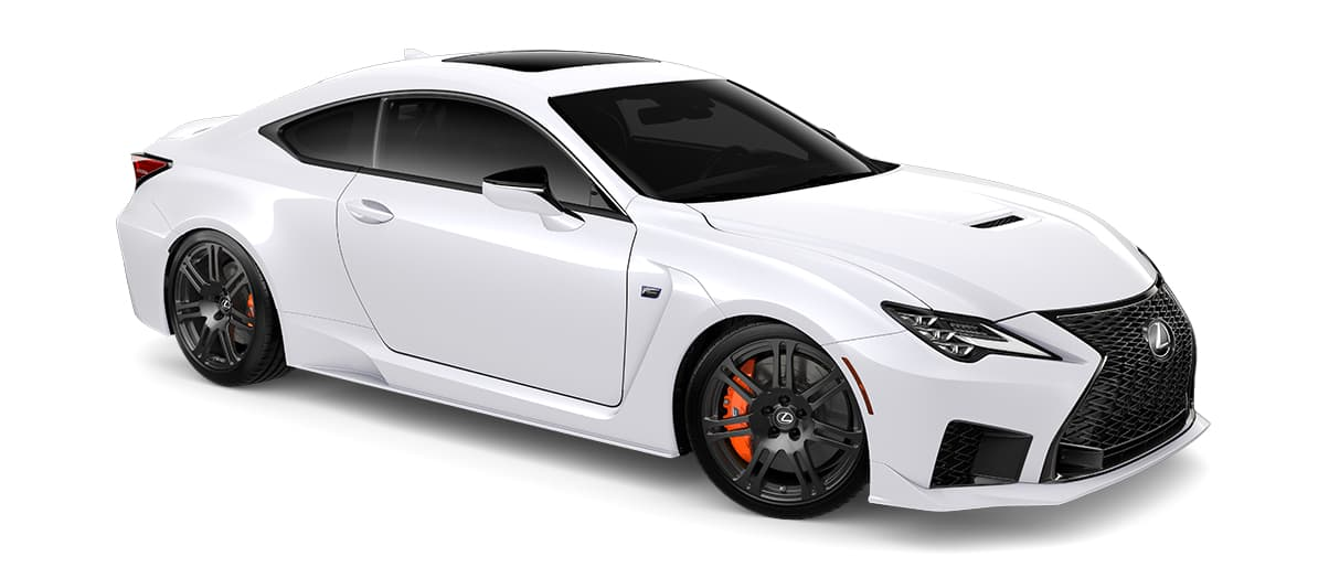 2020 rcf   in Ultra White with '19-inch split-seven-spoke forged alloy wheels by BBS with Michelin® Pilot® Sport 4 S tires<span class='tooltip-trigger disclaimer' data-disclaimers='[{\'code\':\'TIREWEAR5\',\'isTerms\':false,\'body\':\'19-in performance tires are expected to experience greater tire wear than conventional tires. Tire life may be substantially less than mileage expectancy or 15,000 miles, depending upon driving conditions.\'}]'><span class='asterisk'>*</span></span>' angle4