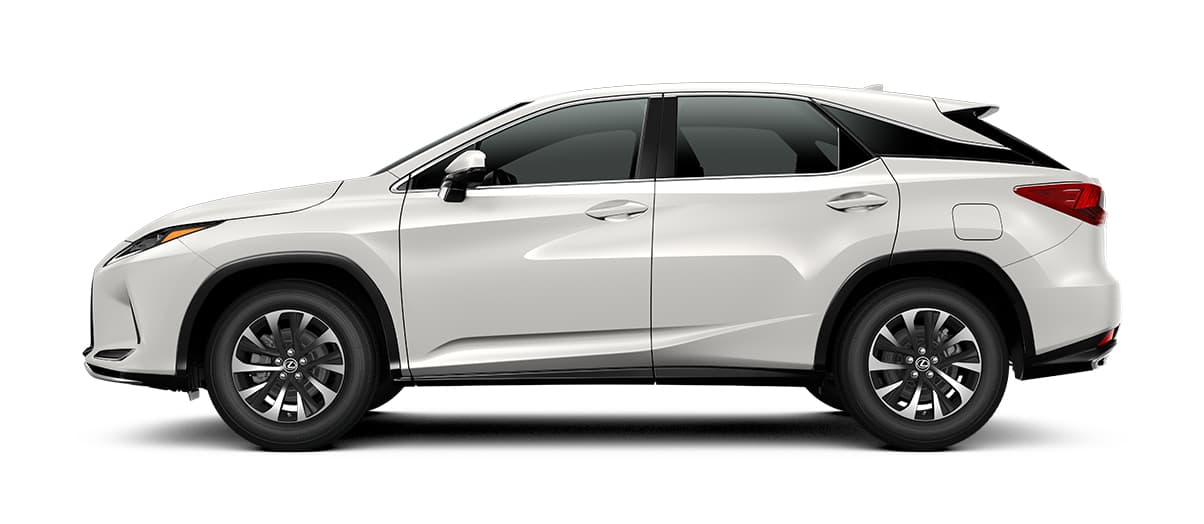 2020 rx 350 in Eminent White Pearl with '18-inch split-five-spoke alloy wheels<span class='tooltip-trigger disclaimer' data-disclaimers='[{\'code\':\'TIREWEAR2\',\'isTerms\':false,\'body\':\'18-in performance tires are expected to experience greater tire wear than conventional tires. Tire life may be substantially less than mileage expectancy or 15,000 miles, depending upon driving conditions.\'}]'><span class='asterisk'>*</span></span>' angle2