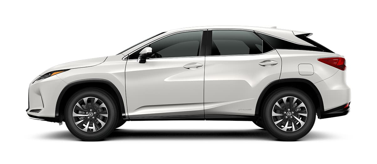 2020 rx 450h in Eminent White Pearl with '18-inch split-five-spoke alloy wheels<span class='tooltip-trigger disclaimer' data-disclaimers='[{\'code\':\'TIREWEAR2\',\'isTerms\':false,\'body\':\'18-in performance tires are expected to experience greater tire wear than conventional tires. Tire life may be substantially less than mileage expectancy or 15,000 miles, depending upon driving conditions.\'}]'><span class='asterisk'>*</span></span>' angle2