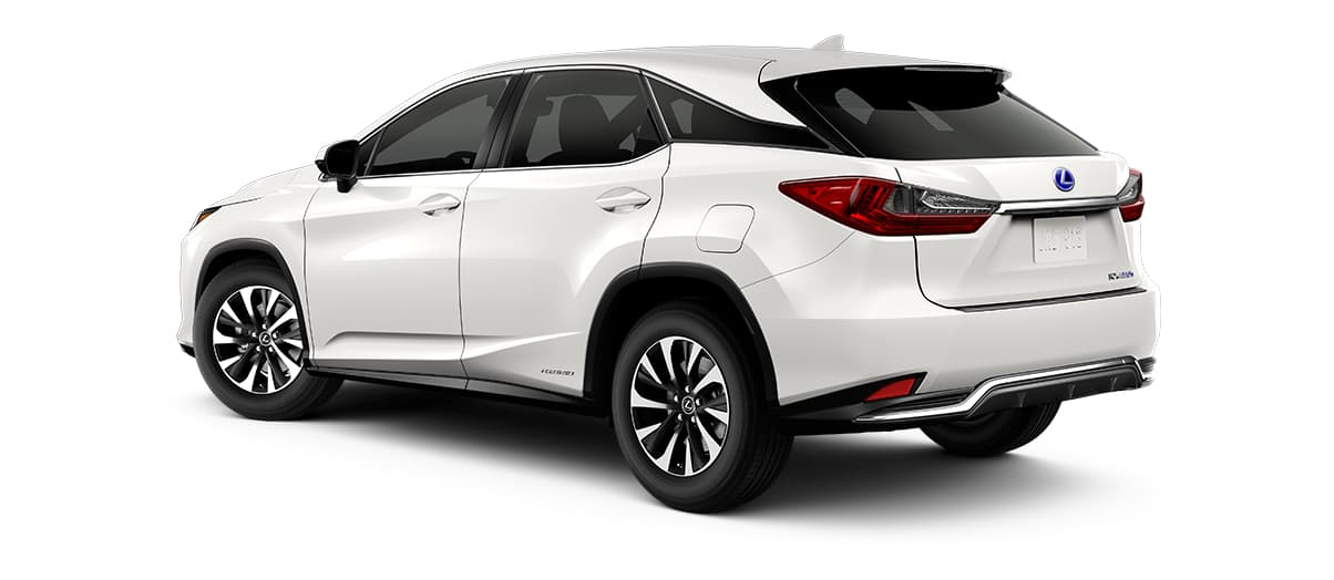 2020 rx 450h in Eminent White Pearl with '18-inch split-five-spoke alloy wheels<span class='tooltip-trigger disclaimer' data-disclaimers='[{\'code\':\'TIREWEAR2\',\'isTerms\':false,\'body\':\'18-in performance tires are expected to experience greater tire wear than conventional tires. Tire life may be substantially less than mileage expectancy or 15,000 miles, depending upon driving conditions.\'}]'><span class='asterisk'>*</span></span>' angle3
