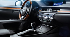 2013 Lexus ES 300h Hybrid dashboard shown with available Black leather and Bamboo trim