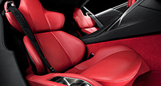 2013 LFA with Passenger seat shown in Red leather trim, and Red carpet.