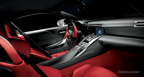 2013 LFA shown in Red and Black leather trim.