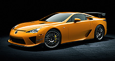 2013 LFA with Nürburgring Package shown in Sunset Orange with Yellow brake calipers.