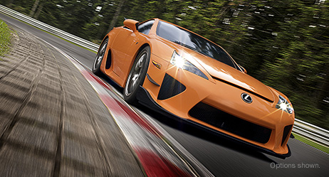 2013 LFA with Nürburgring Package shown in Sunset Orange with Front Canards.