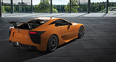 2013 LFA with Nürburgring Package shown in Sunset Orange, fixed carbon fiber rear wing