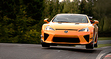 2013 LFA with Nürburgring Package shown in Sunset Orange, testing at Nurburgring.