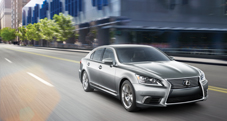 2013 Lexus LS shown in Liquid Platinum with available LED headlamps