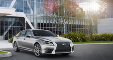 2013 Lexus LS shown in Liquid Platinum with available 19-inch split-seven-spoke alloy