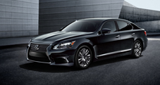 2013 Lexus LS shown in Obsidian with available 19-inch split-seven-spoke alloy wheels and LED headlamps