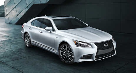 2013 Lexus LS F SPORT exterior shown in Ultra White with available LED headlamps