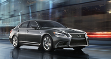 2013 Lexus LS F SPORT exterior shown in Nebula Gray Pearl with available LED headlamps