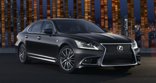 2013 Lexus LS F SPORT exterior shown in Obsidian with available LED headlamps