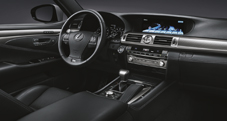 2013 Lexus LS F SPORT interior shown in Black leather trim with Aluminum accent