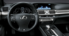 2013 Lexus LS F SPORT dashboard shown in Black leather trim with Aluminum accent