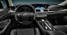 2013 Lexus LS dashboard shown in Black leather trim with Shimamoku Espresso wood accent