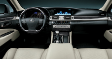 2013 Lexus LS shown dashboard in Light Gray leather trim with Shimamoku Espresso wood accent