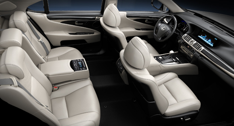 2013 Lexus LS interior shown in Light Gray leather trim with Shimamoku wood accent