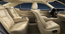 2013 Lexus LS interior shown in Parchment leather trim with Dark Brown Walnut accent