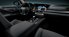 2013 Lexus LS interior shown in Black leather trim with Shimamoku wood accent