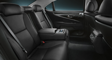2013 Lexus LS interior back seat shown in Black leather trim with Shimamoku wood accent