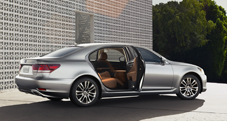 2013 Lexus LSh Hybrid exterior shown in Liquid Platinum with Flaxen leather interior trim