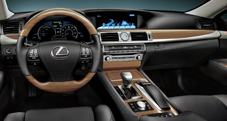 2013 Lexus LSh Hybrid dashboard shown in Black semi-aniline leather trim with Matte Bamboo accent