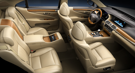 2013 Lexus LSh Hybrid interior shown in Parchment leather trim with Matte Bamboo accent