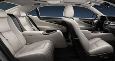 2013 Lexus LSh Hybrid interior shown in Light Gray leather trim with Shimamoku wood accent and  available Executive-Class Seating Package