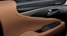 2013 Lexus LSh Hybrid interior shown in Flaxen leather trim with Shimamoku Espresso wood accent
