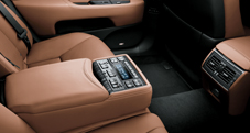 2013 Lexus LSh Hybrid interior shown in Flaxen leather trim with Shimamoku Espresso wood accent and available Ultra Luxury Package