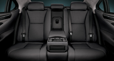 2013 Lexus LSh Hybrid interior back seats shown in Black semi-aniline leather trim with available Ultra Luxury Package